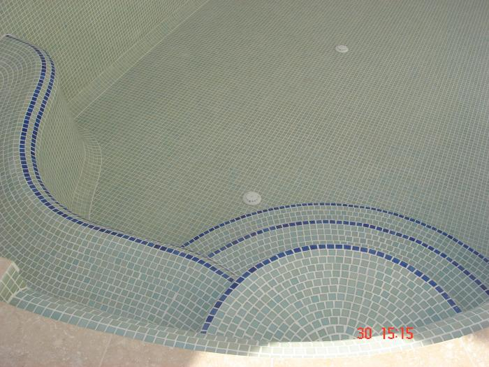 pool with white mosaic