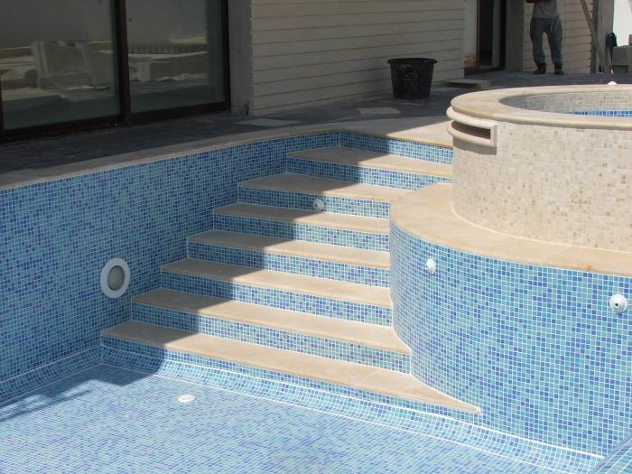 pool with mosaic steps