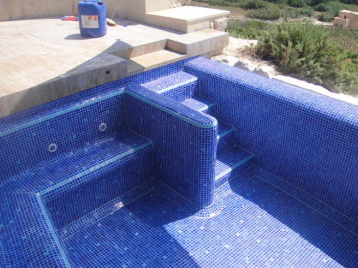 pool with blue mosaic