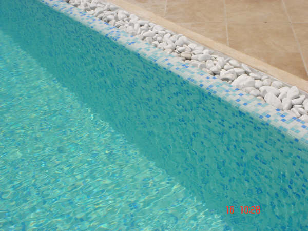 pool with mosaic border