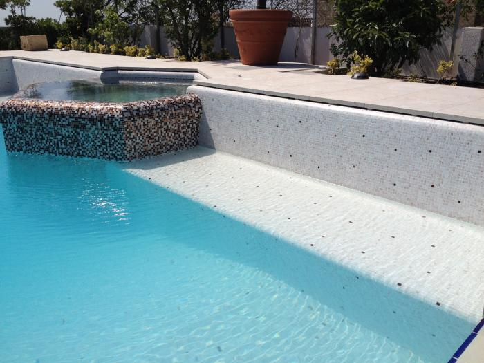 pool with raised edge mosaic